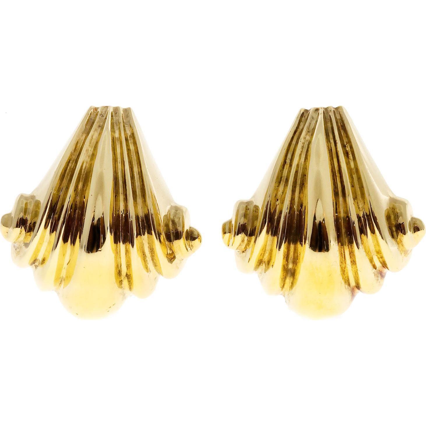 18 Karat Yellow Gold Italian Wave Design Clip Post Earrings