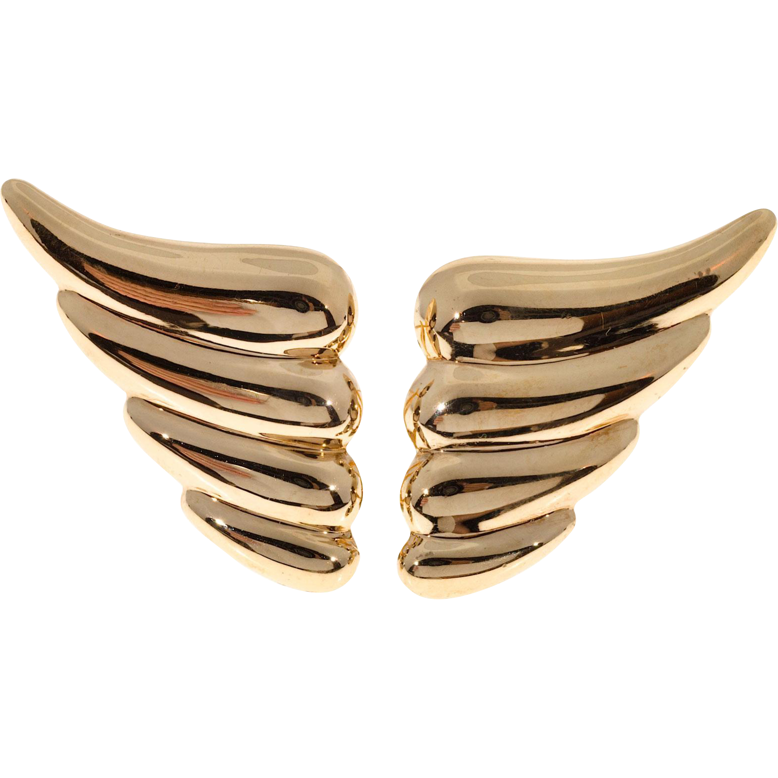 14 Karat Yellow Gold Wing Design Clip Post Earrings
