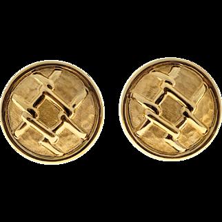 14 Karat Yellow Gold Button Clip Post Round Italian Knot Earrings