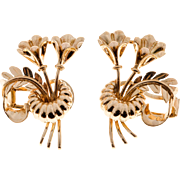 14 Karat Rose Gold Double Flower Art Deco Earrings