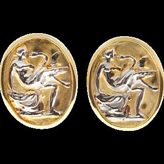 14k Yellow White Gold Byzantine Clip Post Pierce Earrings