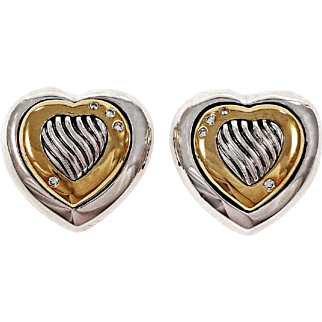 David Yurman Thoroughbred Diamond Silver 18k 14k Yellow Gold Heart Stud Earrings