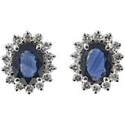 Oval Royal Blue Sapphire Diamond Halo 18 Karat White Gold Earrings