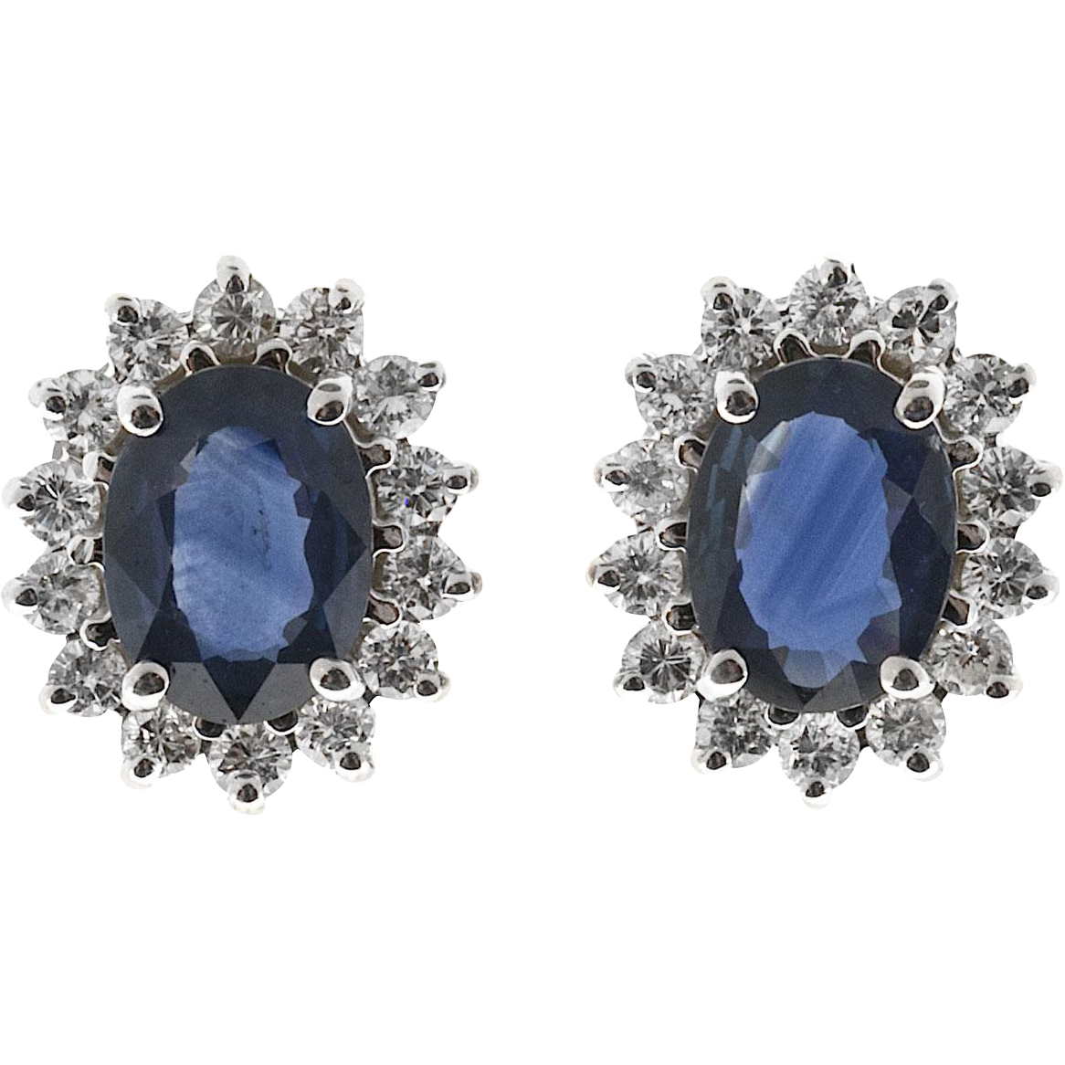 Oval Royal Blue Sapphire Diamond Halo 18 Karat White Gold Earrings