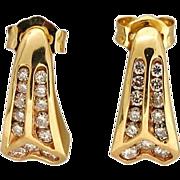 Curved Angular 26 Channel Set Round Full Diamond .45ct 14 Karat Yellow Gold Earrings