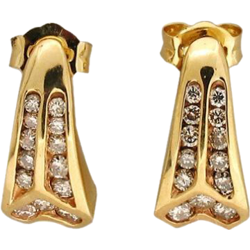 Curved Angular 26 Channel Set Round Full Diamond .45ct 14 Karat Yellow Gold Earrings