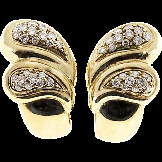 Diamond Pave 18 Karat Gold Tear Drop Wave Clip Post Earrings