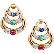 Cabochon Ruby Emerald Sapphire Pave Diamond Hinged Crescent 18 Karat Gold Dangle Earrings