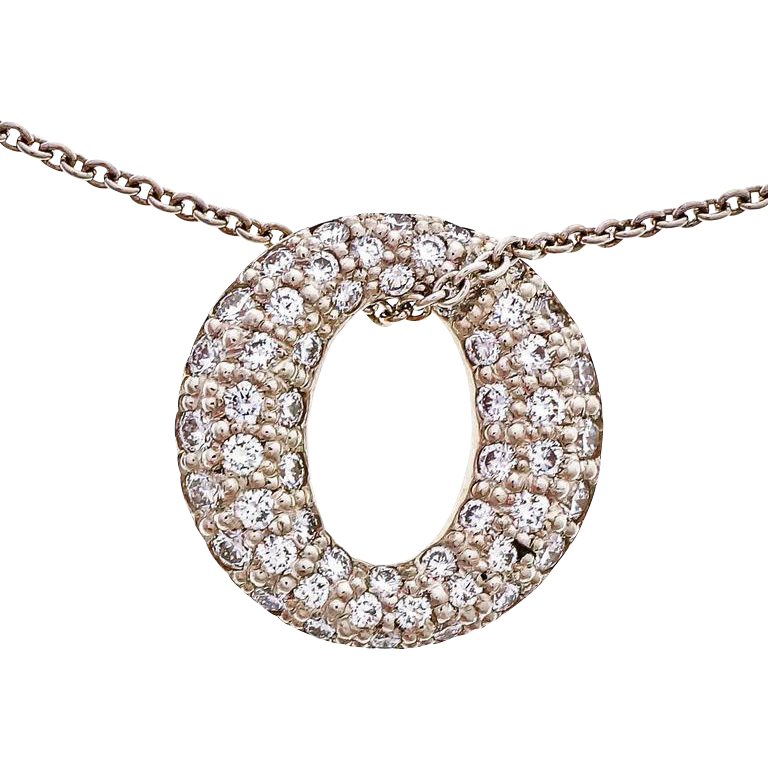 Tiffany & Co Diamond Mini Sevillana Platinum Pendant Necklace
