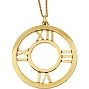 Tiffany & Co Atlas 18 Karat Yellow Gold Round Pendant Necklace
