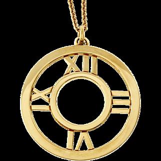 Tiffany & Co Atlas 18 Karat Yellow Gold Round Pendant Necklace