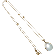 Blue Topaz Mother Of Pearl Diamond 18 Karat Yellow Gold Pendant Necklace