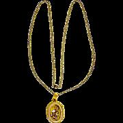 Antique 1900 Locket 14 karat Rose Yellow Gold Platinum Pendant Necklace