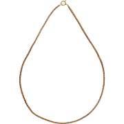 Square 14 Karat Yellow Gold Wheat Chain Necklace