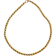14 Karat Yellow Gold Bead Necklace