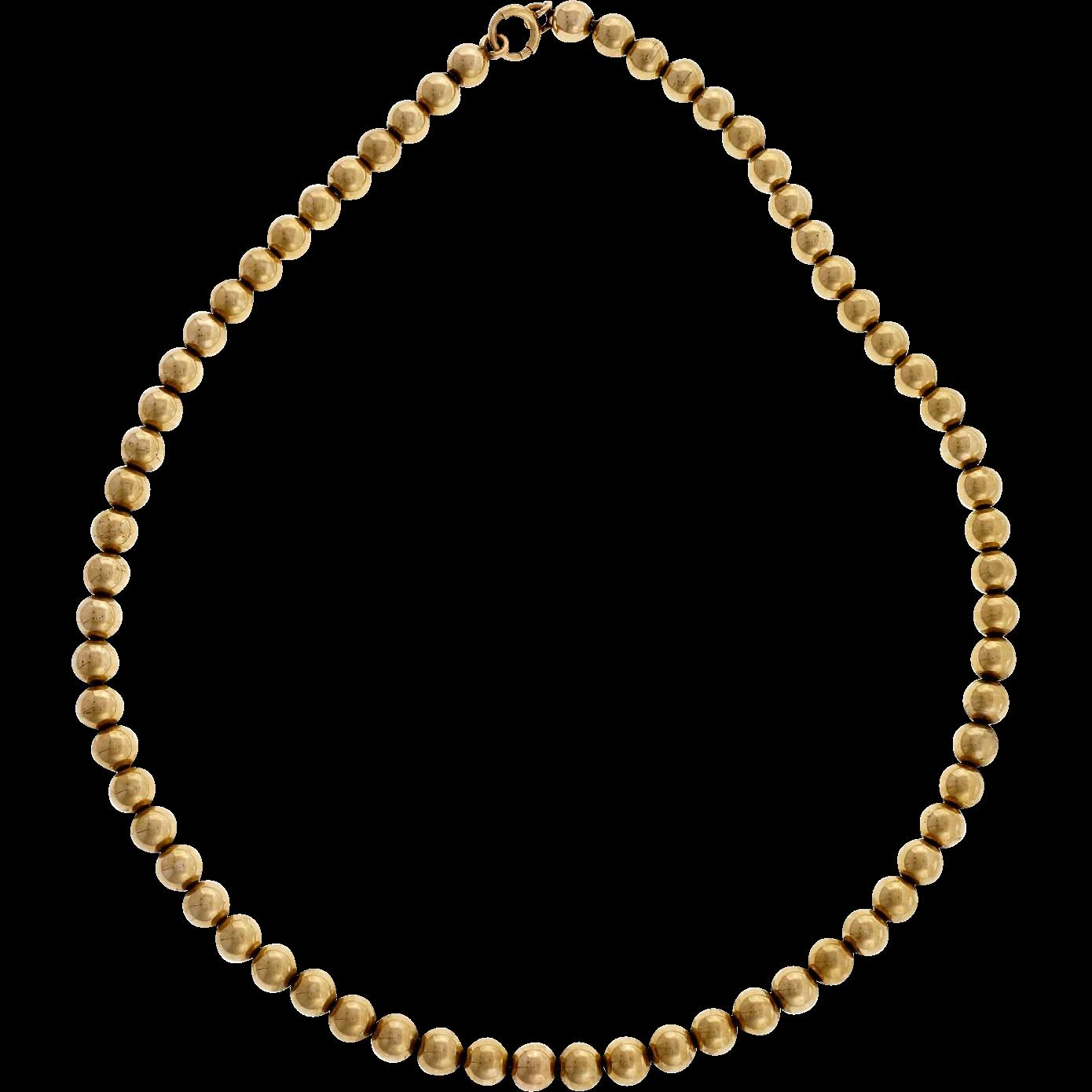 14 Karat Yellow Gold Bead Necklace