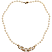 Cultured Pearl Diamond 14 Karat Yellow Gold Necklace