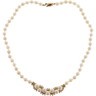 Cultured Pearl Diamond 14 Karat Yellow Gold Necklace