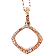 Quartz Diamond Halo 18 Karat Rose Gold Pendant Necklace