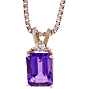 Amethyst Diamond 14 Karat White Gold Pendant Necklace