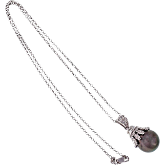 South Sea Black Cultured Pearl Diamond 18k White Gold Pendant