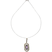 Vintage Amethyst 14 Karat White Gold Pierced Filigree Pendant Necklace