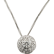Diamond Domed 14 Karat White Gold Slide Pendant Necklace