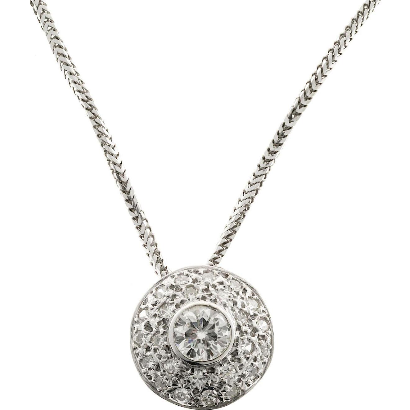 Diamond Domed 14 Karat White Gold Slide Pendant Necklace