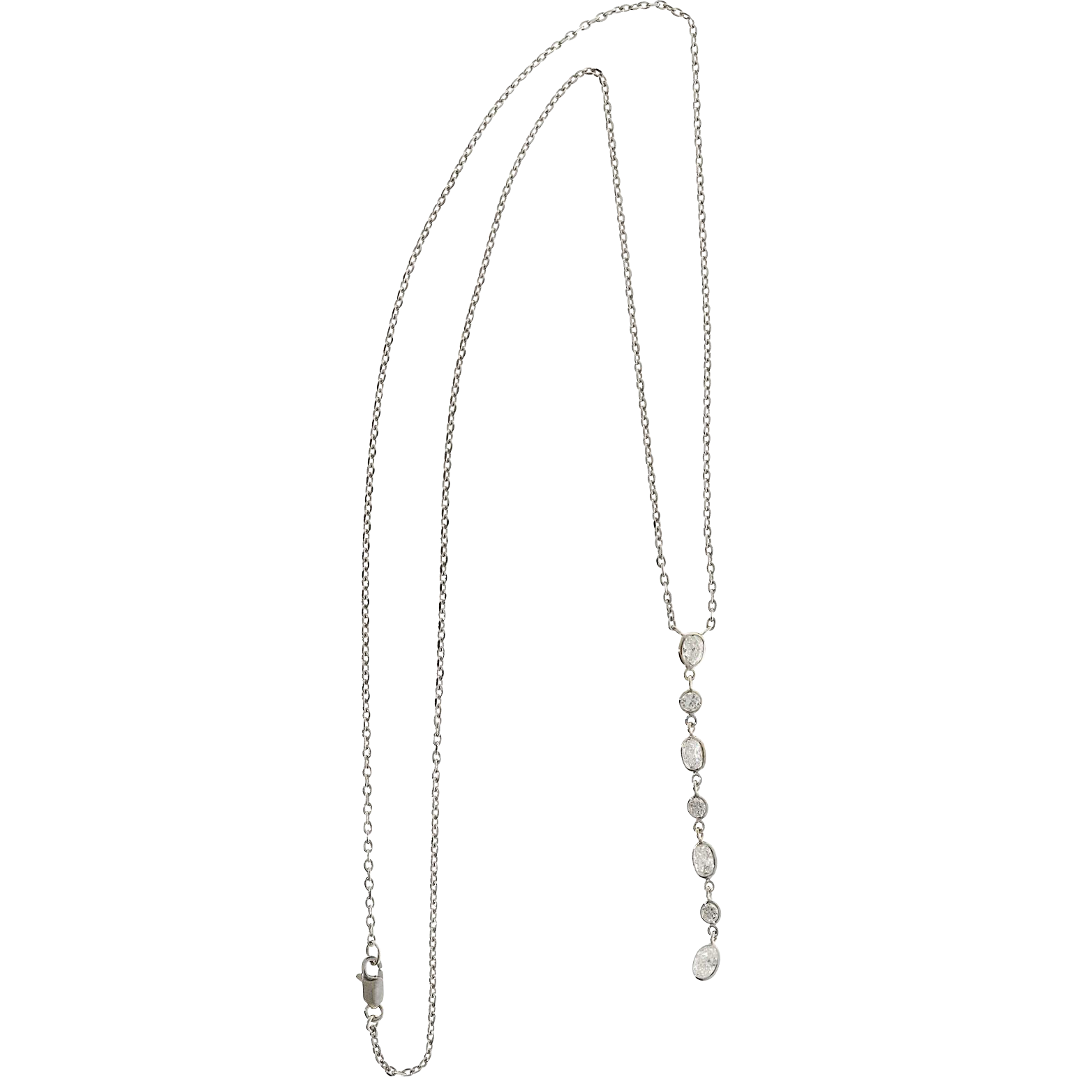 Oval Round Diamond 14 Karat White Gold Drop Pendant Necklace