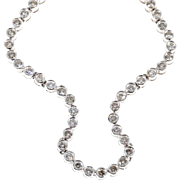 Diamond Tennis Bezel Set Platinum Necklace