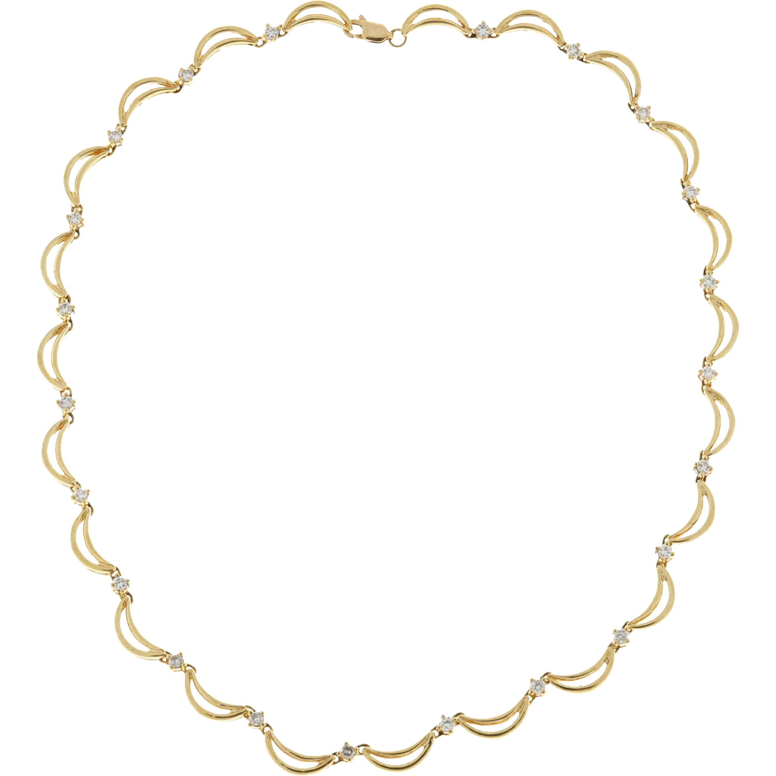 Diamond 14 Karat Yellow Gold Crescent Link Necklace