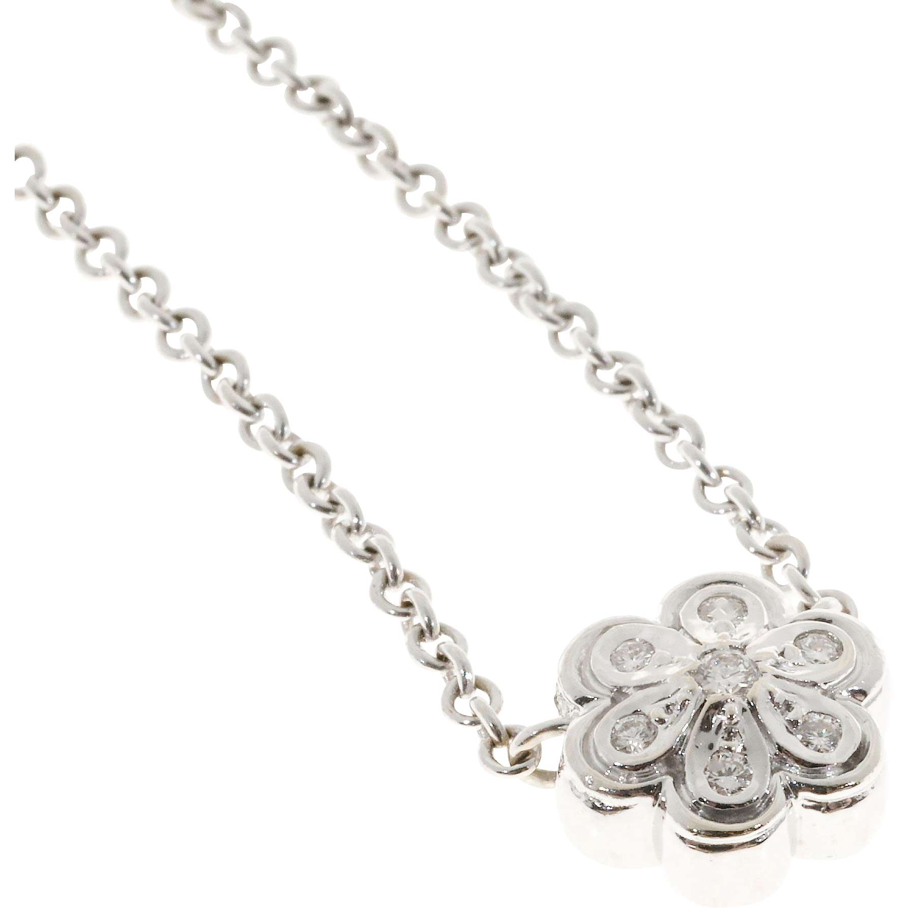 7 Diamond Daisy Flower 18 Karat White Gold Pendant Necklace