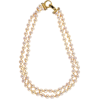 Two Strand 8mm Japanese Akoya Cultured Pearl 14 Karat Yellow Gold Necklace