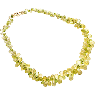 302.00cts Peridot Citrine Briolette 18 Karat Yellow Gold Necklace