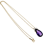 Tiffany & Co Amethyst Diamond 18 Karat Yellow Gold Pendant Necklace