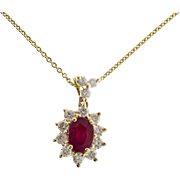 Oval Ruby Diamond Halo 14 Karat Yellow Gold Pendant Necklace