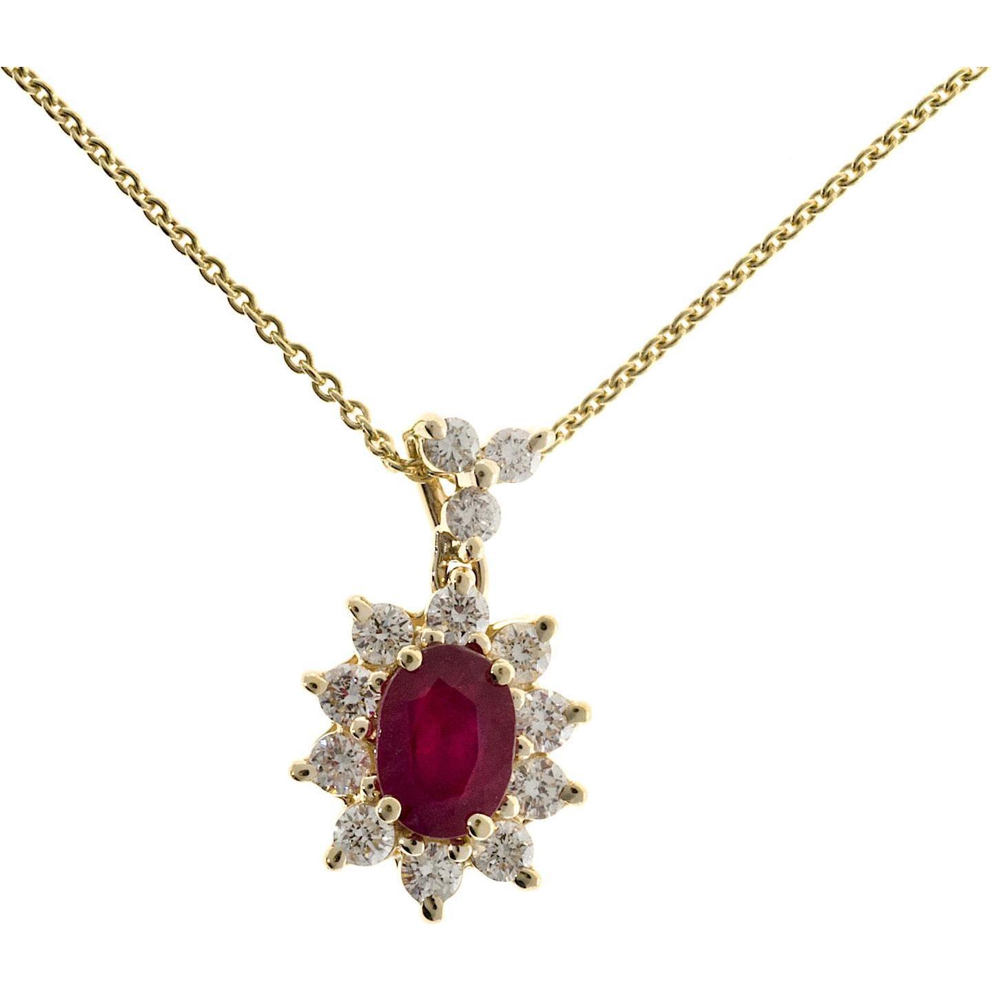 Oval Ruby Diamond Halo 14 Karat Yellow Gold Pendant Necklace