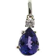 Purple Pear Tanzanite Diamond 18 Karat Yellow Gold Pendant