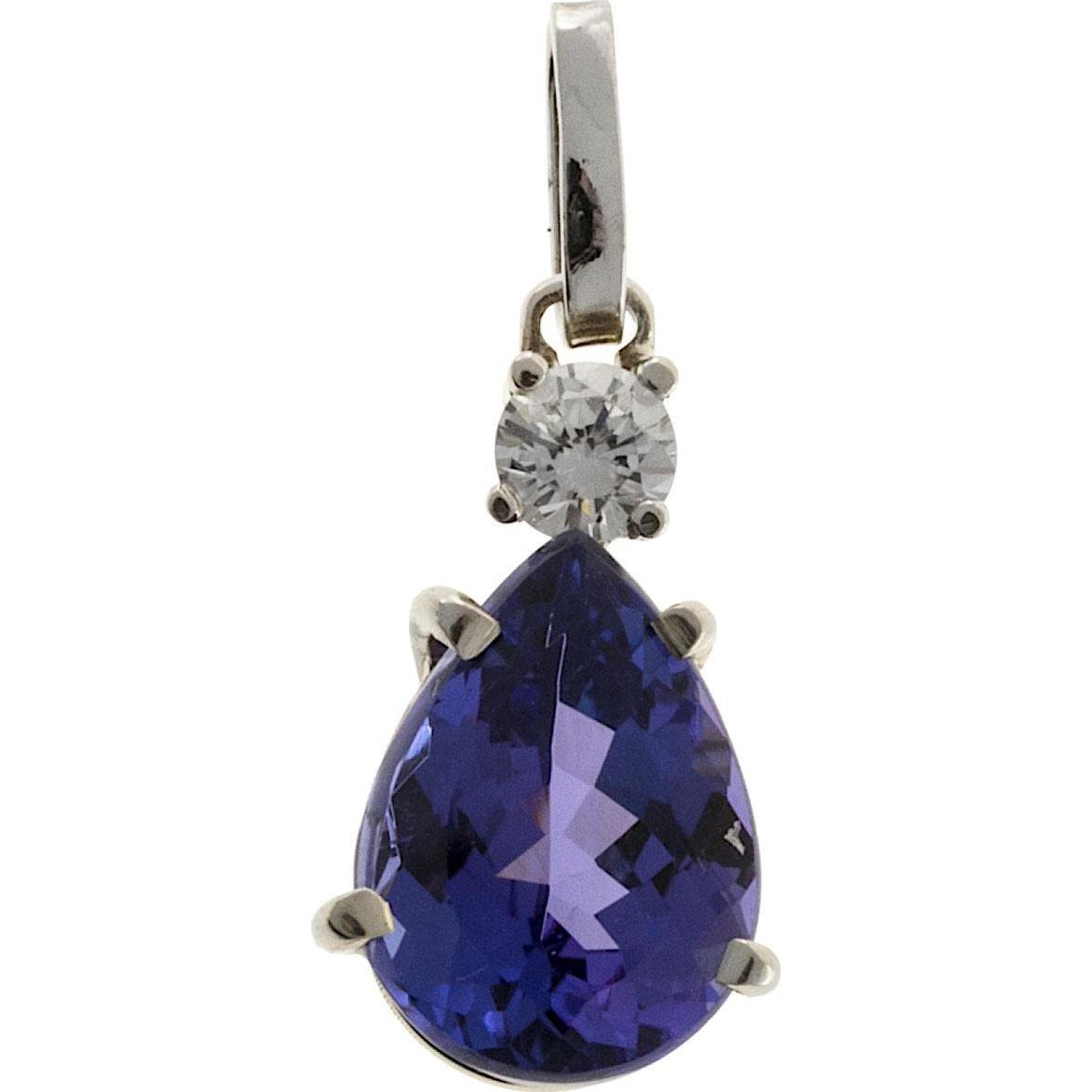 Purple Pear Tanzanite Diamond 18 Karat Yellow Gold Pendant