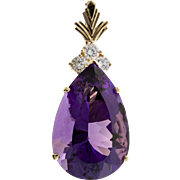 Pear Purple Amethyst Diamond 14 Karat Gold Enhancer Pendant