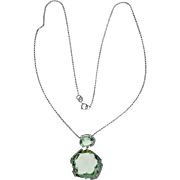 Quartz Diamond 14 Karat White Gold Dangle Pendant Necklace