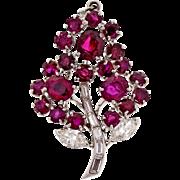 Vintage 1960s Ruby Diamond Flower Platinum Pendant