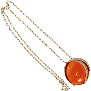 Carnelian Diamond Pendant 14 Kart Yellow Gold Necklace