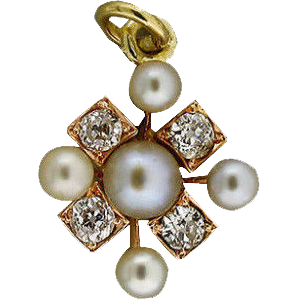 Estate 1900 14 Karat Gold 5 Natural Silvery White Pearl Pink Gold Old Mine Diamond Pendant