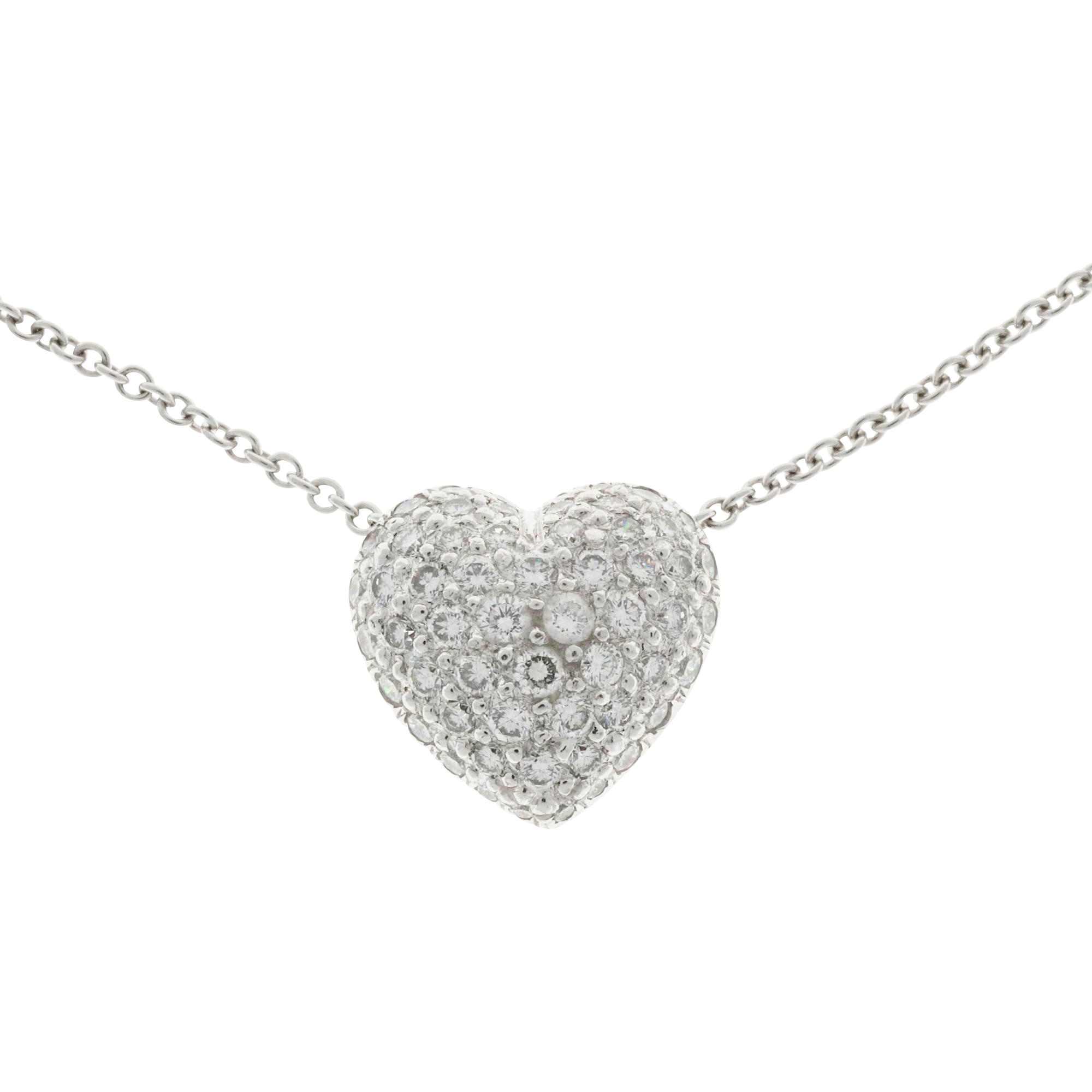 Pave Diamond Heart 3-D Platinum Pendant Necklace