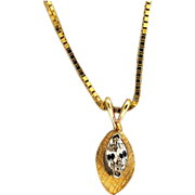 Estate 14 Karat Yellow Gold Florentined .20ct Marquise Diamond Pendant Box Link Chain