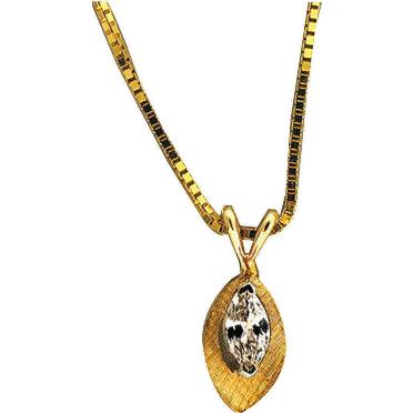 Estate 14 Karat Yellow Gold Florentined .20ct Marquise Diamond Pendant Box Link Chain
