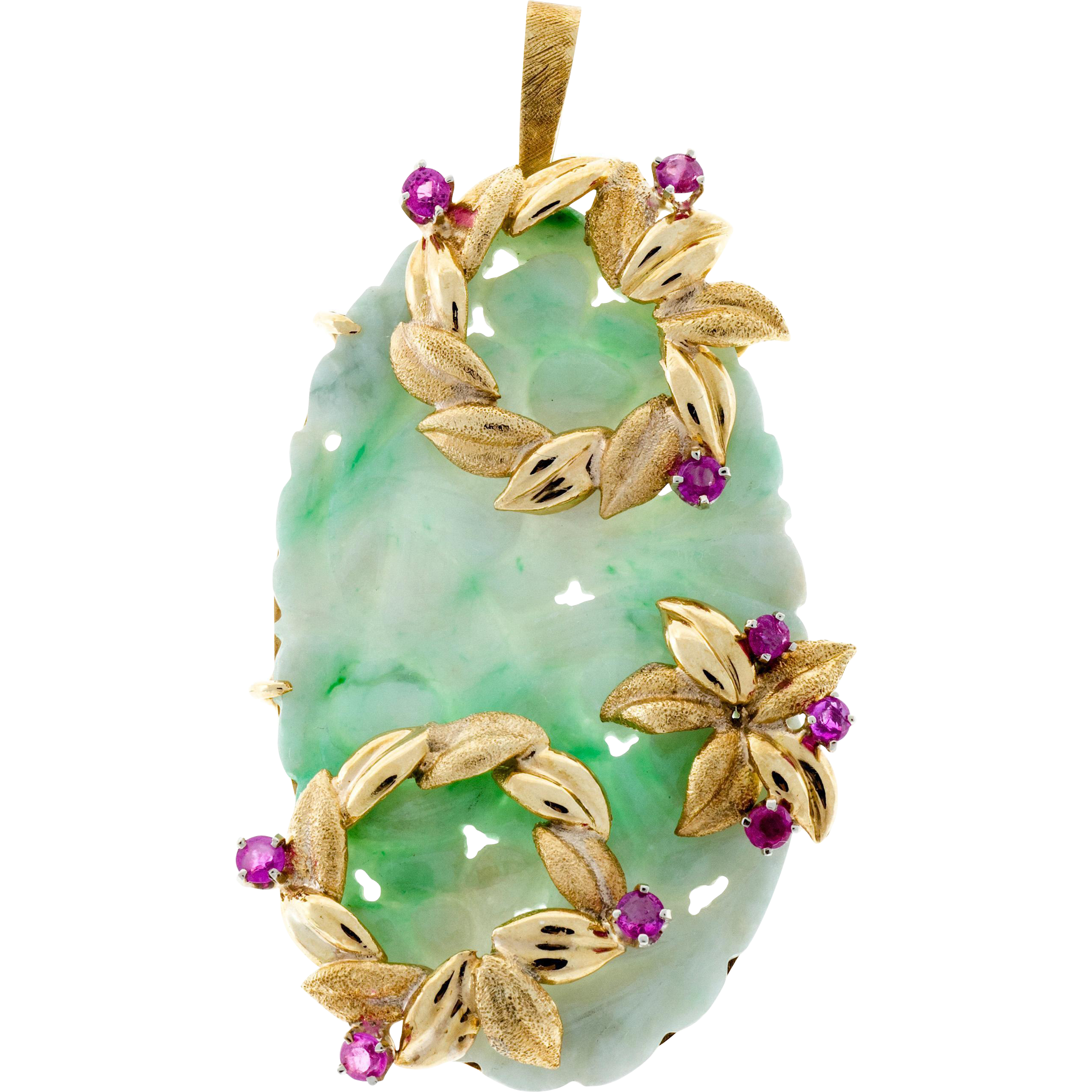 Jadeite Jade Ruby 18 Karat Yellow Gold Hand Carved Floral Pendant