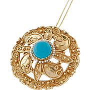 Vintage 1940s Turquoise Brooch 14 Karat Yellow Gold Pendant Necklace