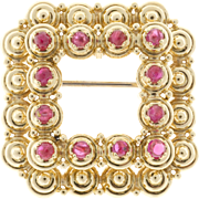 Tiffany & Co Ruby Square 18 Karat Yellow Gold Pin